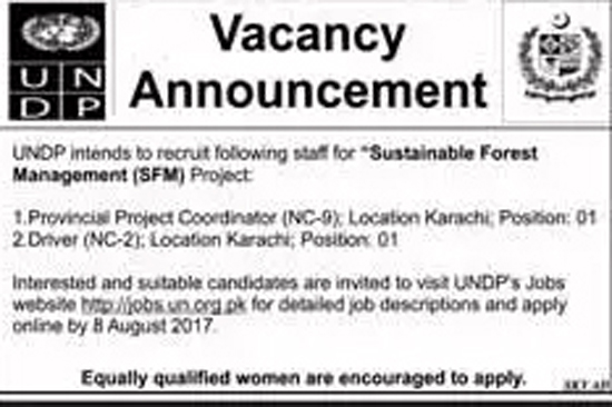 Jobs in United Nations Development Programme Karachi 26 July 2017.