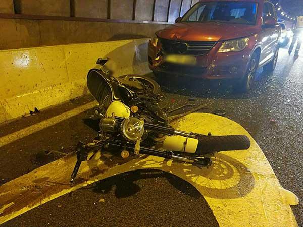 Dos heridos accidente múltiple en túnel Julio Luengo