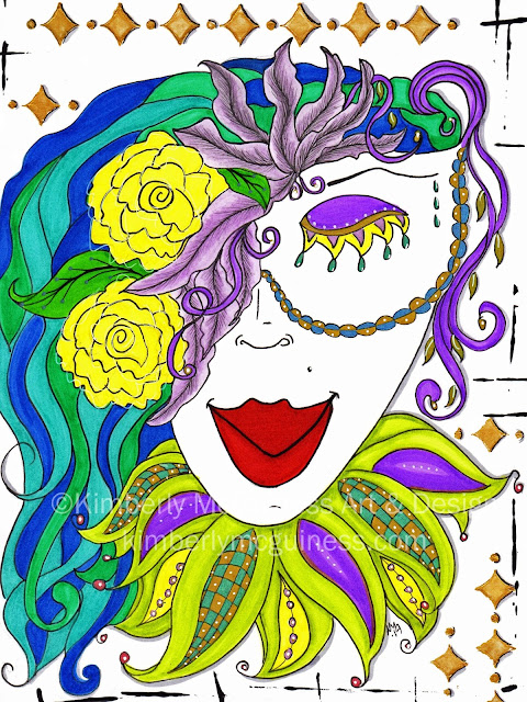 a whimsical piece with a colorful mardi gras like lady with blue hair and big red lips by Kimberly Mcguiness