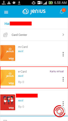 Setelah masuk di aplikasinya silakan kalian scroll kebawah sampai ketemu menu Card Center, selanjutnya kalian klik pada e-Card Kartu Virtual