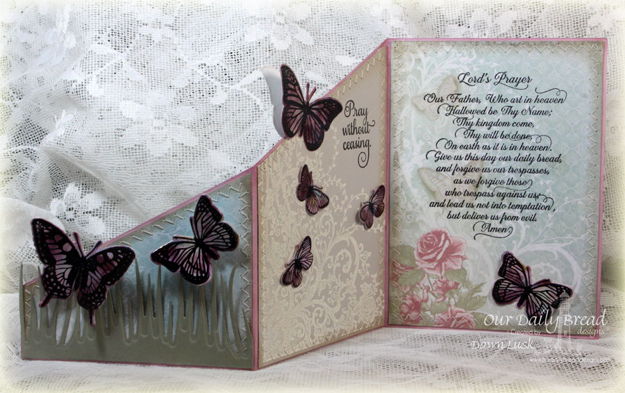 Stamps - Our Daily Bread Designs Butterfly and Bugs, Lord's Prayer Script, Belles Vignes, Trois Jolies Papillons, ODBD Custom Dies: Trois Papillons, Butterfly and Bugs,Grass Border, ODBD Shabby Rose Paper Collection, Fun and Fancy Folds Z-Fold