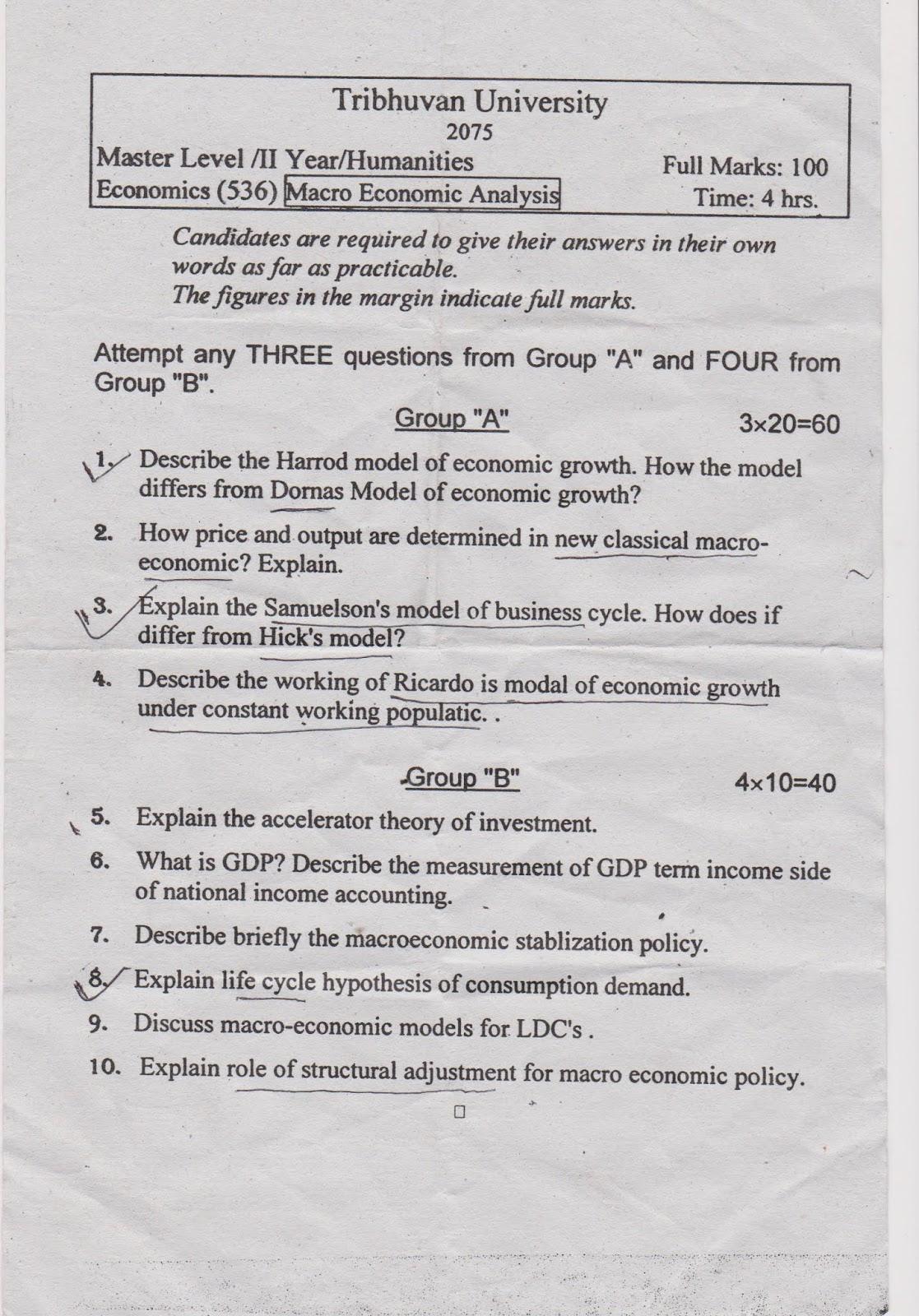 Economics-536-Macro-Economic-Analysis-Question-Paper-2075-Master-Level-II-Year-Humanities-TU