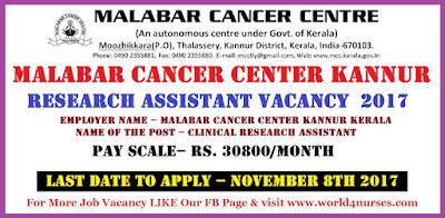 Malabar Cancer Center Kannur Research Assistant Vacancy  2017