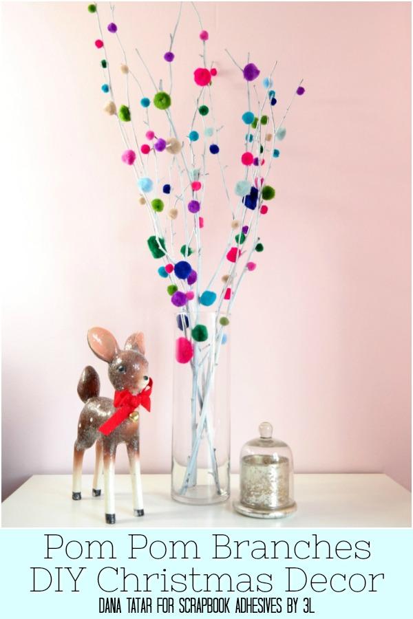 Pom Pom Branches DIY Christmas Decor Tutorial