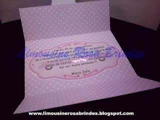 Convite Limousine Rosa, limousine rosa, lembrancinha limousine rosa, brinde limousine rosa, festa limousine rosa, tema limousine rosa