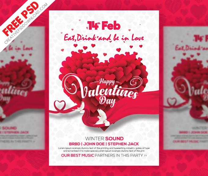 Valentines Day Clean Flyer PSD