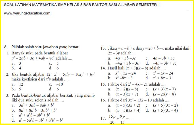 Soal Matematika SMP Kelas 8 Bab Faktorisasi Aljabar Semester 1  Warung Education