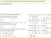 Soal Matematika SMP Kelas 8 Bab Faktorisasi Aljabar Semester 1