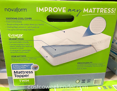 EVENcor Gel-Plus Memory Foam Mattress Topper (Twin): great for any twin size bed
