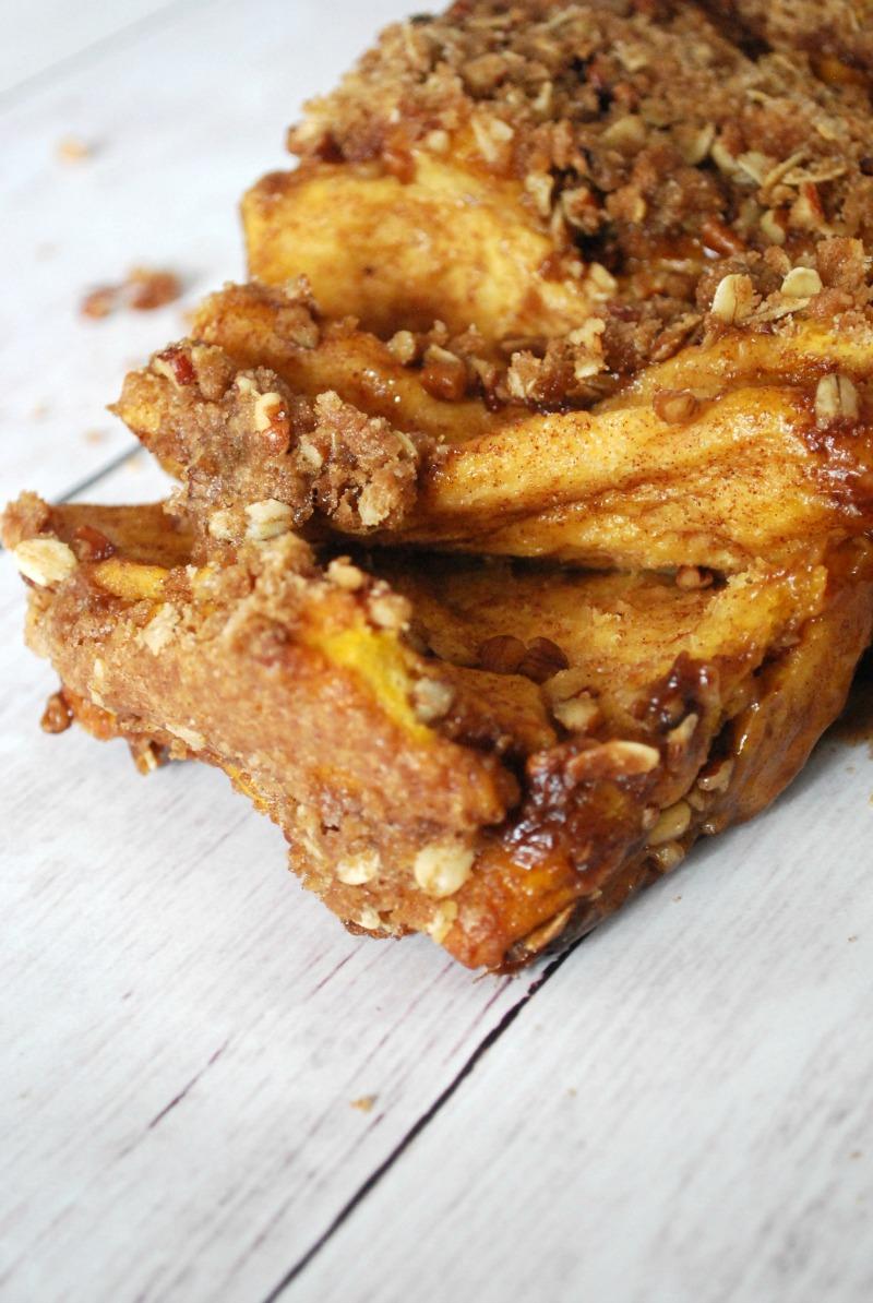 Fall Pumpkin Pull Apart Bread with Cinnamon Sugar Streusel