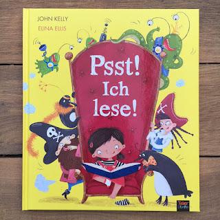 """""""Psst! Ich lese!"""" von John Kelly, illustriert von Elina Ellis, erschienen bei TigerStern 360 Grad Verlag, Bilderbuch über das Lesen, Rezension von Kinderbuchblog Familienbücherei"""