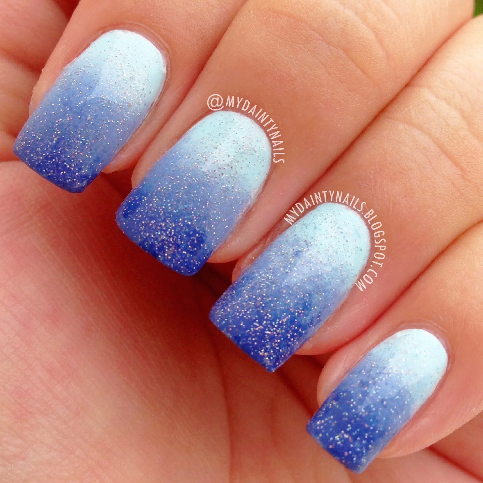 Prom nails for light blue dress