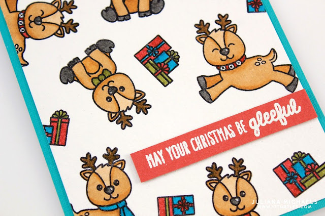 Sunny Studio Stamps: Gleeful Reindeer Holiday Christmas Card by Juliana Michaels.