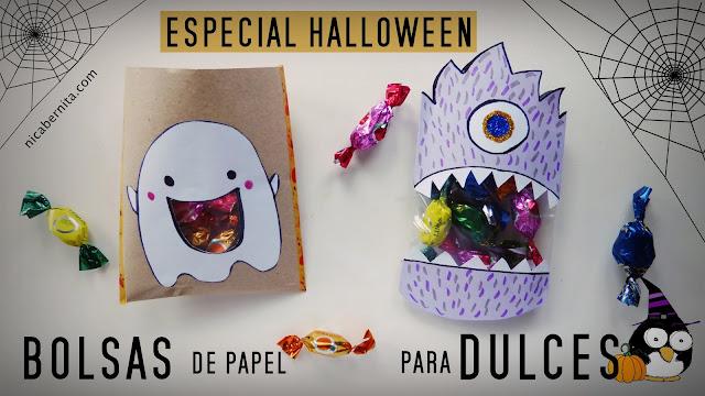 Bolsas de dulces. Manualidades fáciles con papel para Halloween (Nica Bernita)