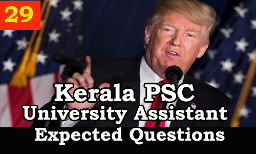 Kerala PSC : Expected Question for University Assistant Exam - 29