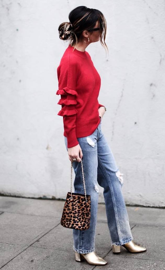 stylish look_red ruffle sweater + rips + leopard bag + gold boots