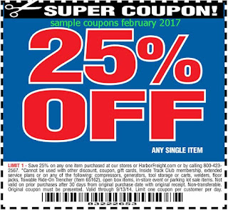 free Harbor Freight coupons february 2017