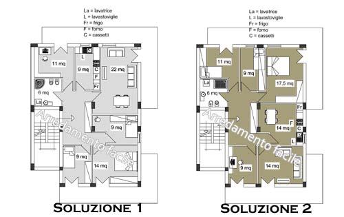 6 camere in 130 mq arredamento facile - Creare planimetria casa ...