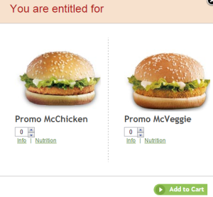 mcdonalds free mcchicken and mcveggie