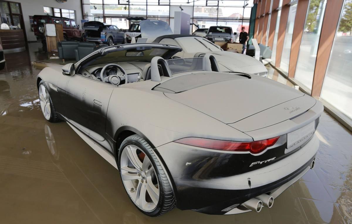 Floods In Germany Destroy Jaguar And Landrover Dealership