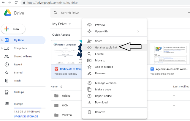 "Screenshot selecting ""Get shareable link"""