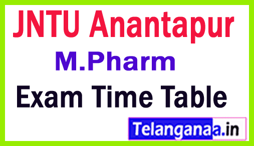 JNTU Anantapur M Pharm Exam Time Table