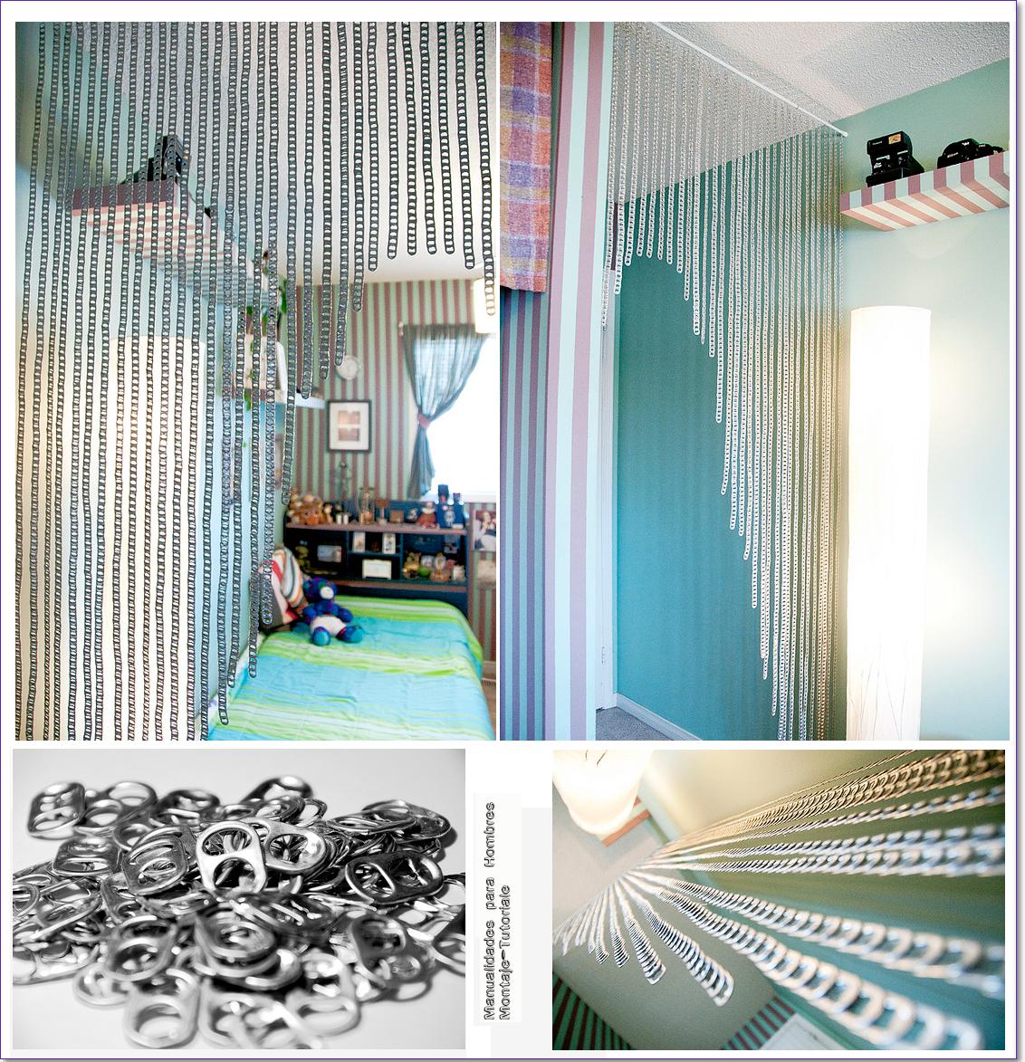 Como hacer una cortina con anillas de latas manualidades for Como hacer una cortina para exterior