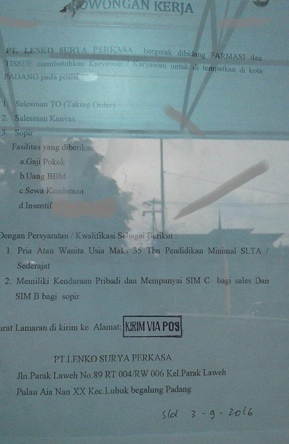 Lowongan Kerja di Padang – PT.Lenko Surya Perkasa – 3 Posisi (Penutupan 03 Sept.2016)