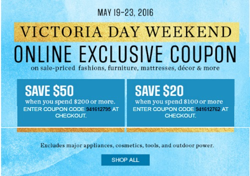 Sears Victoria Day Weekend Exclusive $20-$50 Off Promo Codes
