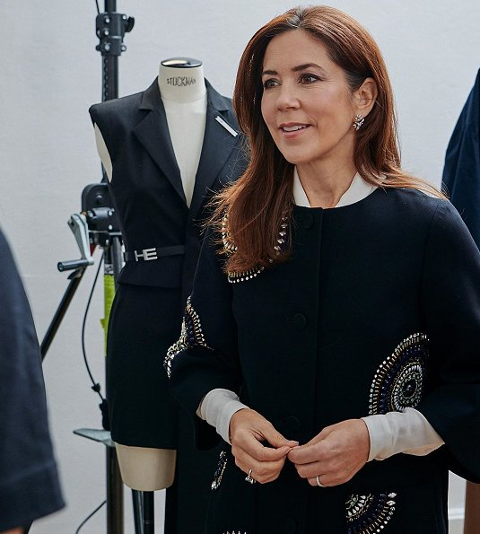 Crown Princess Mary wore YDE Coat from Spring Summer 2016 Collection in Paris, and Valentino Rockstud patent leather pumps