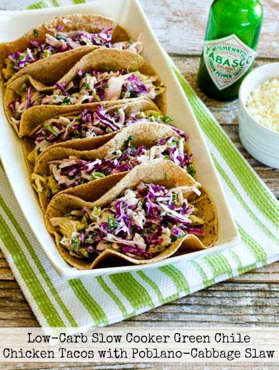 http://www.kalynskitchen.com/2014/11/low-carb-slow-cooker-green-chile-chicken-tacos.html