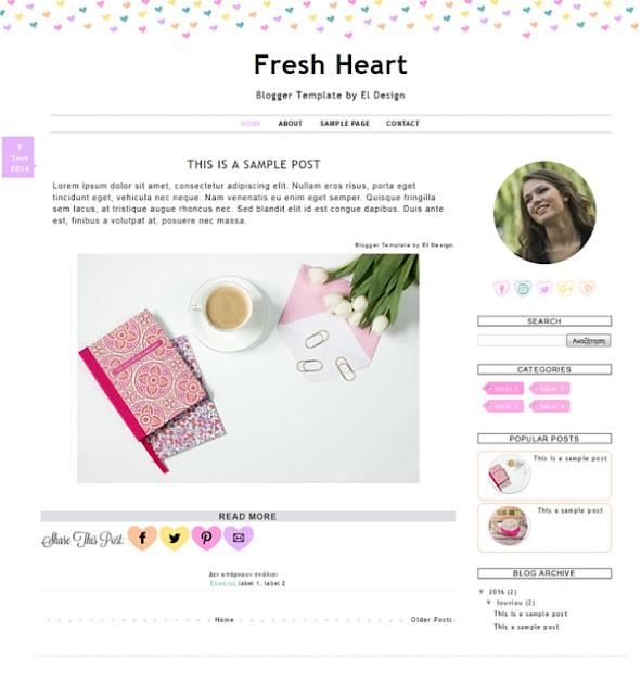 Κέρδισε ένα Πρότυπο Blogger σχεδιασμένο από το El Design | Giveaway: Win A Blogger Template
