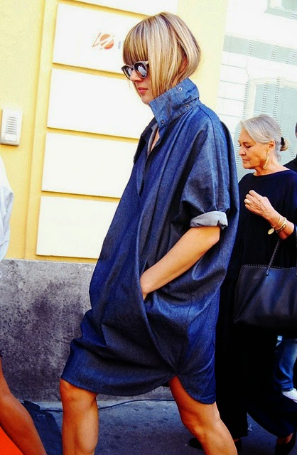 a girl with modern denim dress