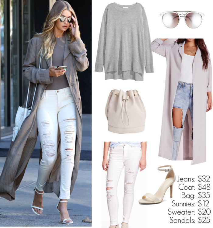 Gigi Hadid, street style, fall outfit ideas, winter white jeans