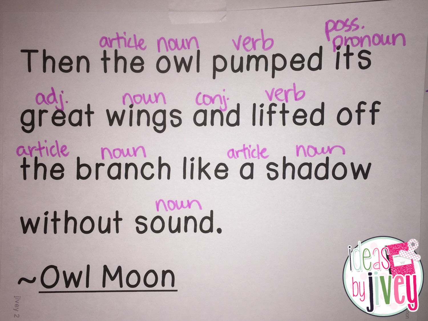 Mentor Sentence Planning Present Using Owl Moon