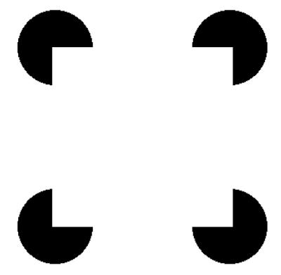 全体を見た時には白い四角が見えるが 部分を見ている時には白い四角は見えない