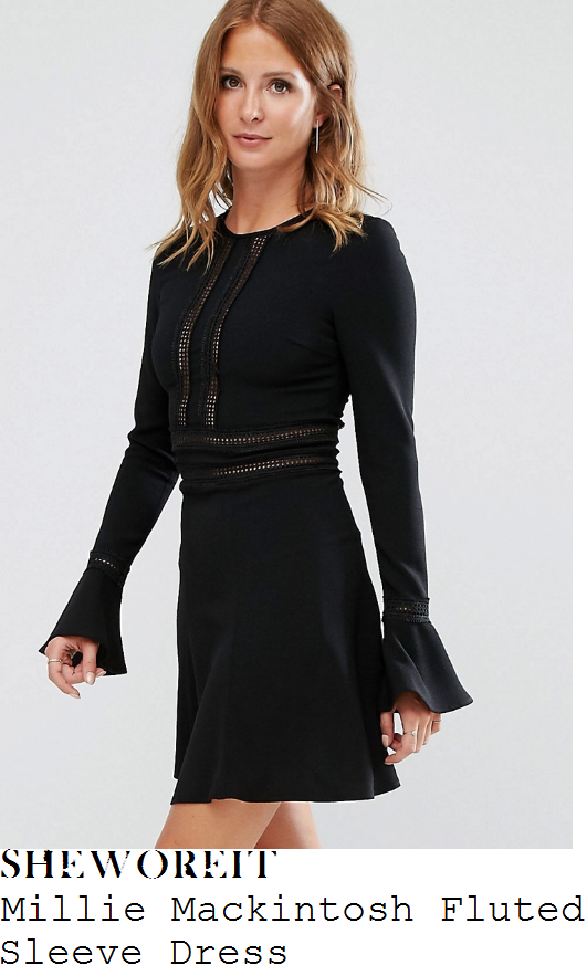 millie-mackintosh-millie-mackintosh-black-long-fluted-sleeve-sheer-crochet-trim-detail-high-waisted-a-line-mini-dress