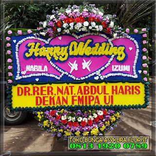 bunga ucapan heppy wedding karawang cikarang
