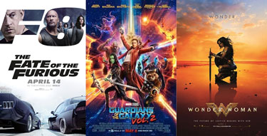 the fate of the furious, wonder woman, guardians of the galaxy vol 2