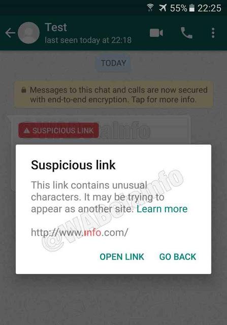 Alerta de link suspeito no Whatsapp.