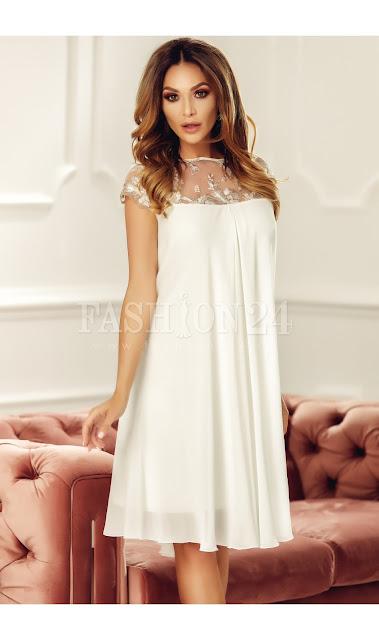 Rochie midi de nunta lejera alba cu dantela brodata