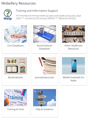Screen-shot of the Midwifery Databases page