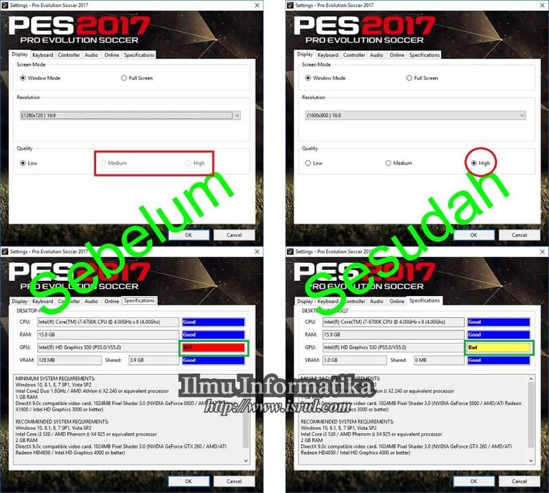 Mengatasi VGA GPU dan VRAM yang Tidak Terdeteksi Pada PES 2017