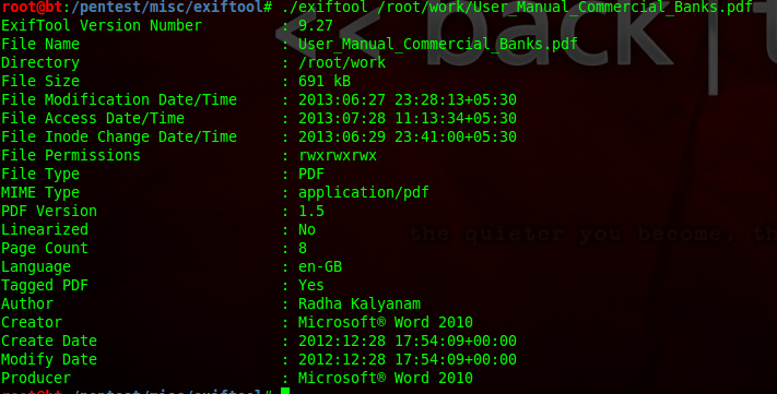 Extract metadata from file in Backtrack |KNOX D3