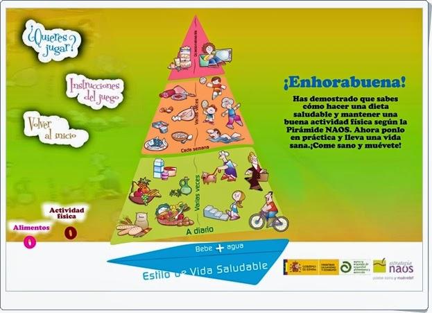 """""""La pirámide NAOS"""" (Juego sobre vida saludable, alimentación equilibrada y ejercicio físico)"""