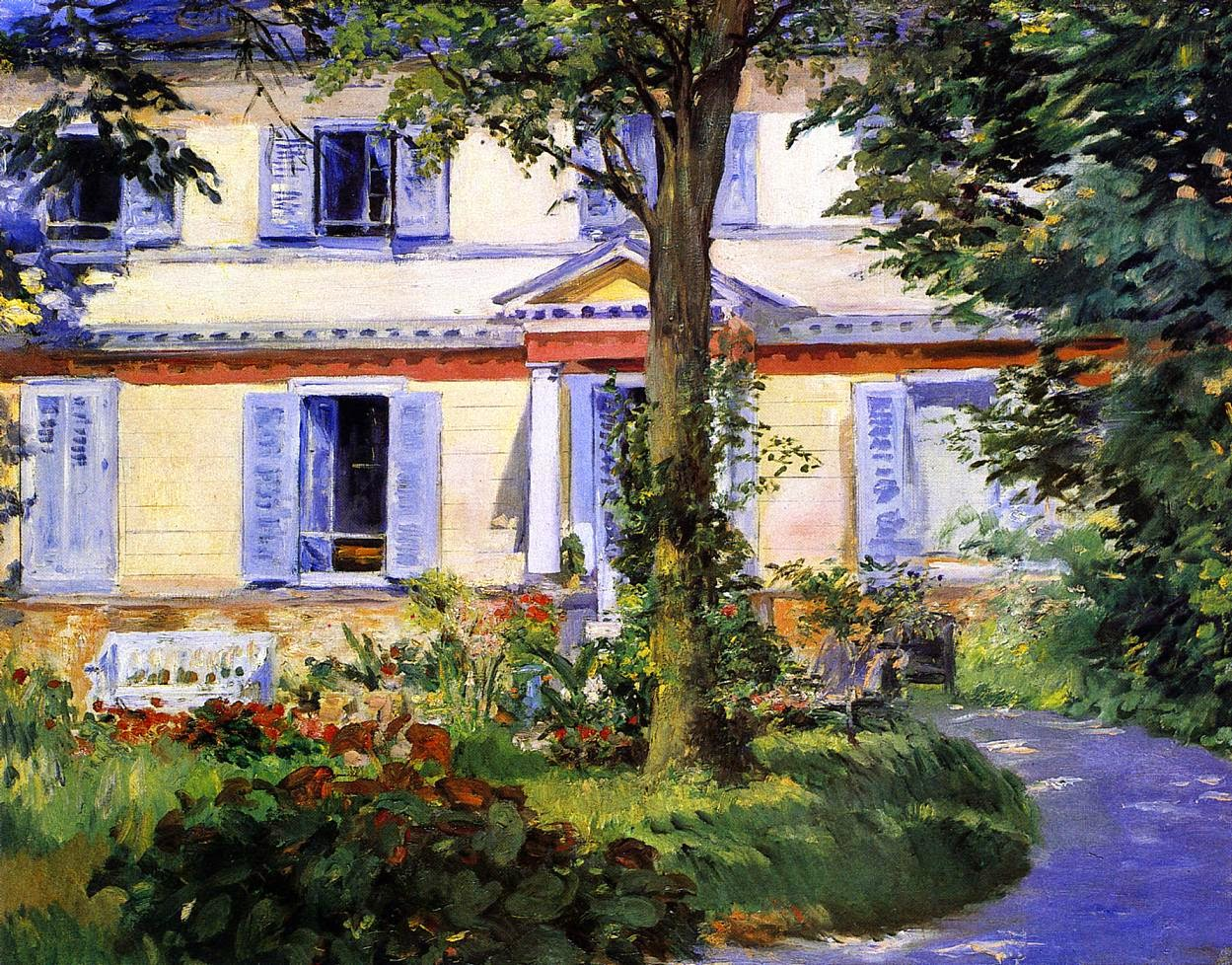 A Casa em Rueil - Pinturas impressionistas pintadas por Édouard Manet