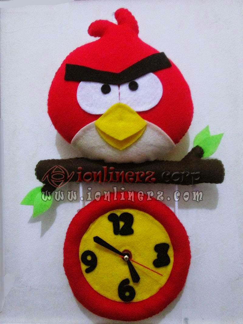 Jam Dinding Flanel Karakter Kartun Boneka Angry Bird Red Cowok