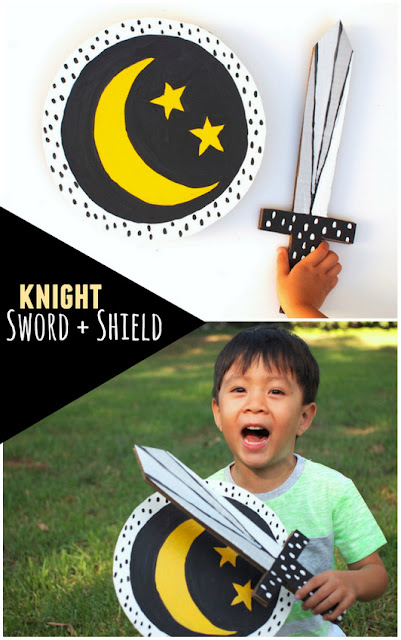 Make a cardboard knight sword and shield for kids imaginary play- Great easy costume idea