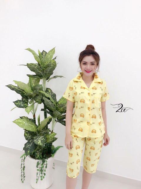 Đồ bộ pijama lửng in hình gấu giá sỉ ở Cần Thơ