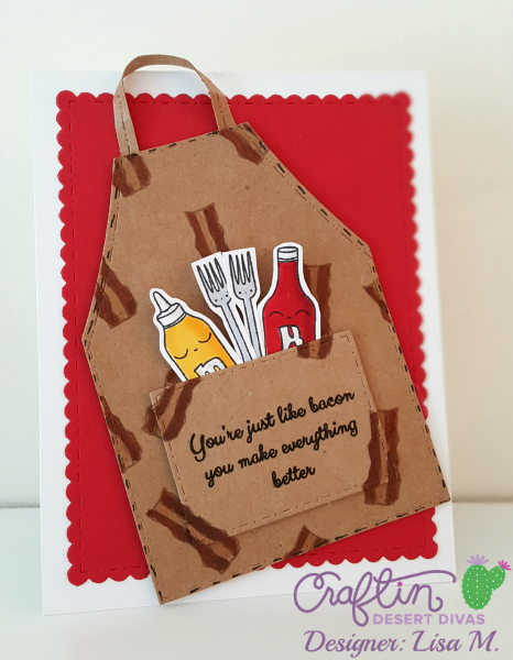 Greeting card featuring aprons with bacon for men